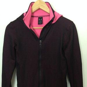 Under Armour Women M Pink Black Hoodie Jacket